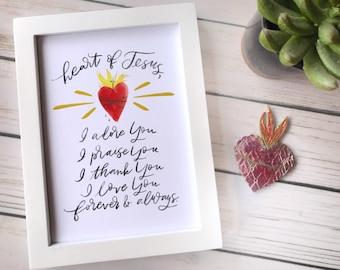 Catholic Prints | Sacred Heart Print | Catholic Prayers