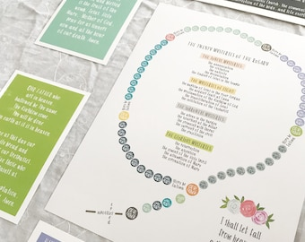 Catholic Kids' Rosary Printable Prayers - Full Set || DIGITAL DOWNLOAD ONLY