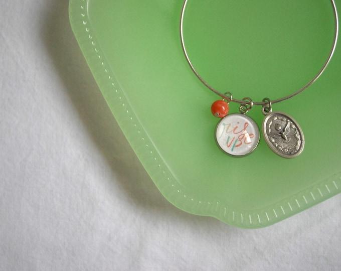 Catholic Rise Up Bangle Bracelet with Holy Spirit Medal
