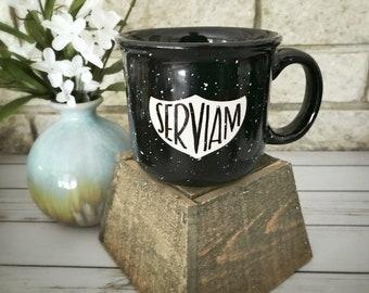 Catholic Ceramic Campfire Mug * Inspirational Mug * St. Michael Mug * Maroon & Black Campfire 14 oz Ceramic Mug