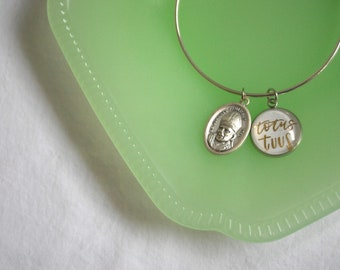 Catholic Totus Tuus Bangle Bracelet with St. JPII Medal