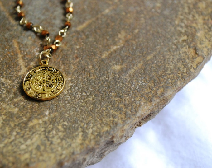 Catholic Vintage St. Benedict Medal Necklace