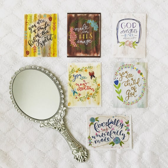 """Set of Six Pocket Prints - 3x4"""" Postcard Prints Assorted Styles - Hand Lettered Painted Floral * Catholic Christian Gifts"""