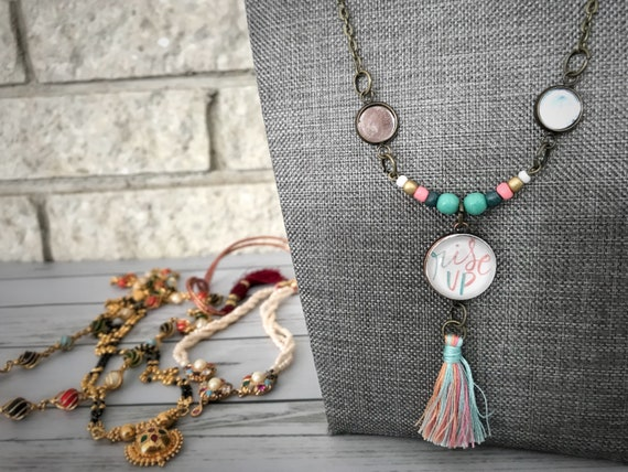 Rise Up - Beaded Tassel Pendant Necklace