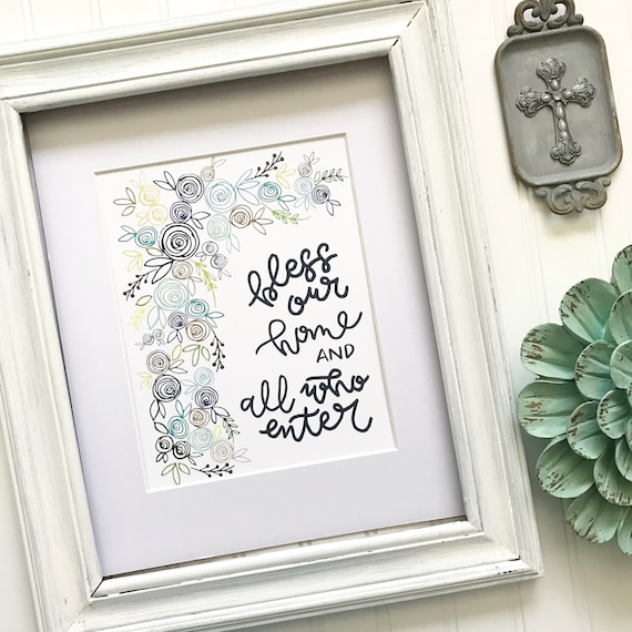 """Floral Hand-Lettered & Illustrated Home Blessing 8x10"""" Print * Catholic Christian Home Decor * Watercolor Sketching * Housewarming Gift"""