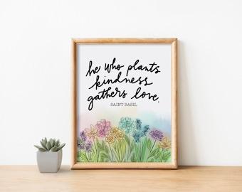 Catholic Prints | Catholic Art | Catholic Home Decor | Inspirational Art | Christian Art | Floral Watercolor | St. Basil the Great Quote