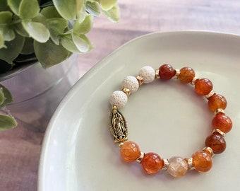 Catholic Bracelet * Beaded Bracelet * Stretch OL Guadalupe Rosary Bracelet * Catholic Jewelry * Gifts for Her