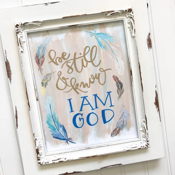 """Hand lettered and painted 8x10"""" Print * Catholic Christian Home Decor * Scripture * Feathers * Confirmation Graduation Gifts"""