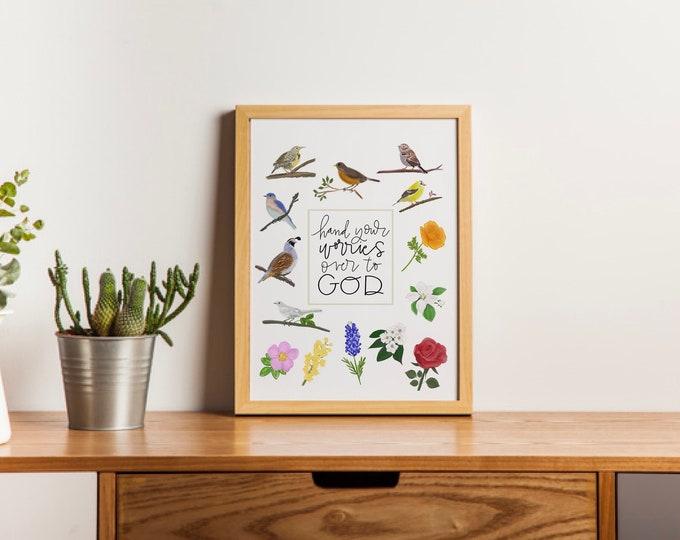 Catholic Prints | Catholic Art | Catholic Home Decor | Christian Art | Inspirational Art | Birds & Flowers
