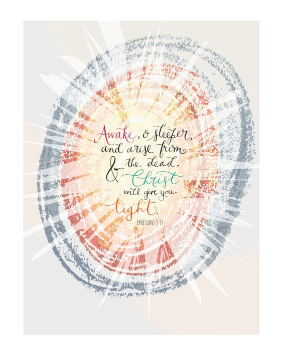 "Christian PRINTABLE * Colorful ""Arise, O Sleeper"" Inspirational Modern Calligraphy Scripture Art 8x10"