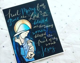 "Catholic Print * Hail Mary {Blue} 8x10"" Handlettered Hand Drawn Print * Inspirational Wall Art * Catholic Gifts * Catholic Home Decor"