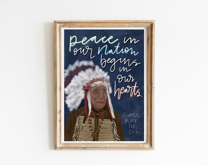 Catholic Prints | Nicholas Black Elk, SOG Print | Saint Print | Indigenous Saint Print