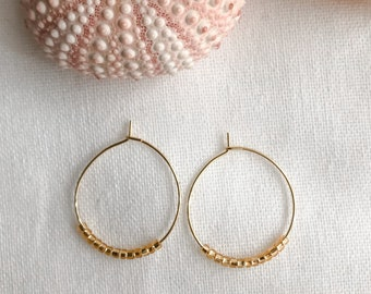 Gold Hoops with Gold Glass Beads
