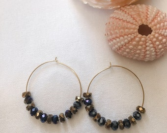 """1.5"""" (38mm) Gold Plated Hoop Earrings with Faceted Beads"""