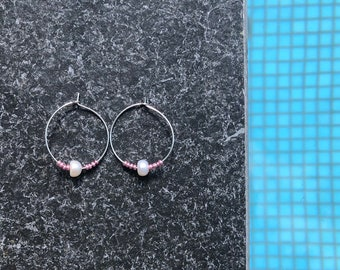 Sterling silver hoops or gold hoops with freshwater pearl and glass beads