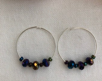 Sterling silver hoops with beautiful black rainbow beads