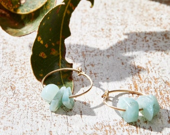 Small gold hoops with Amazonite chip