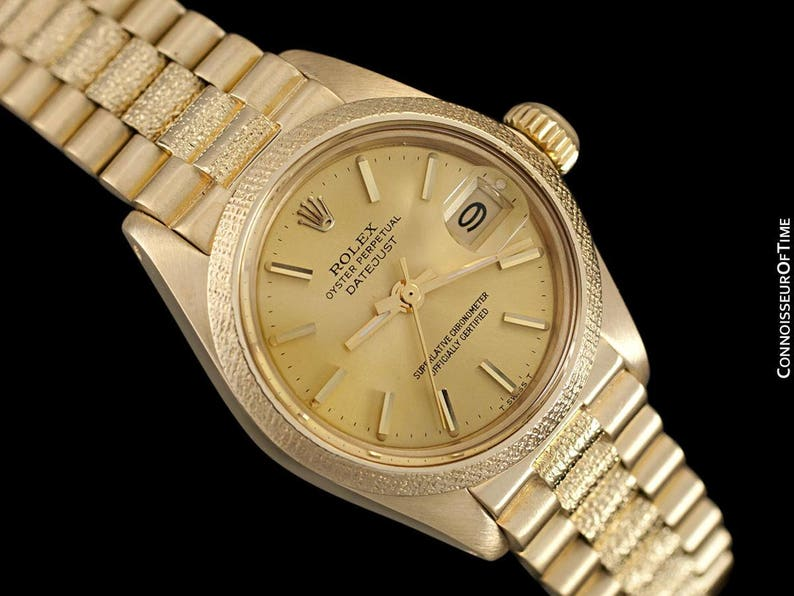 94c3f2c674a Rolex President Datejust Ladies Bark Finish Champagne Dial | Etsy