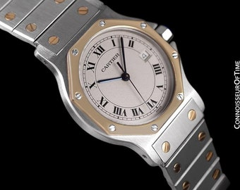 Cartier Santos Octagon Mens (Midsize) Quartz Watch - Stainless Steel & 18K Gold