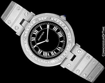 Cartier Santos Vendome Ladies Quartz Watch with Black Dial - Stainless Steel & Diamonds