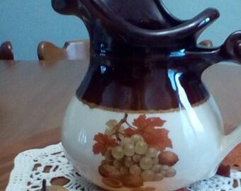 Vintage McCoy 7515 USA Pottery Pitcher with Fruit Pattern
