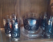 Hollywood Regency Coin Glassware Ice Bucket Vintage Bar ware 5 Black and Gold Coin Tumblers Holiday Drinks In Style