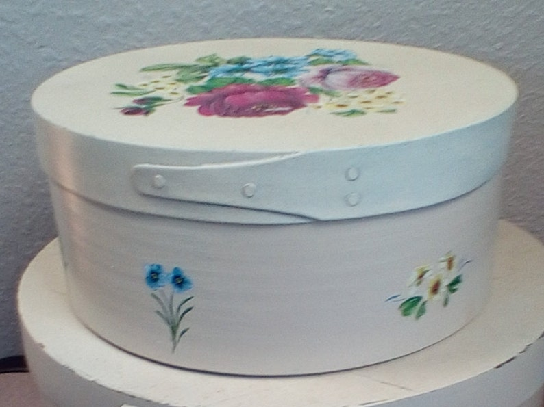 Set of Two Floral Painted Vintage Shaker Nesting  Boxes