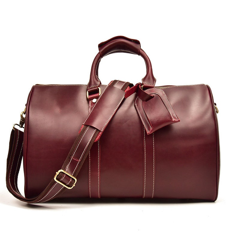 37b70dc1cde8 Woman Leather Duffle Bag Classic Travel Holdall Cabin