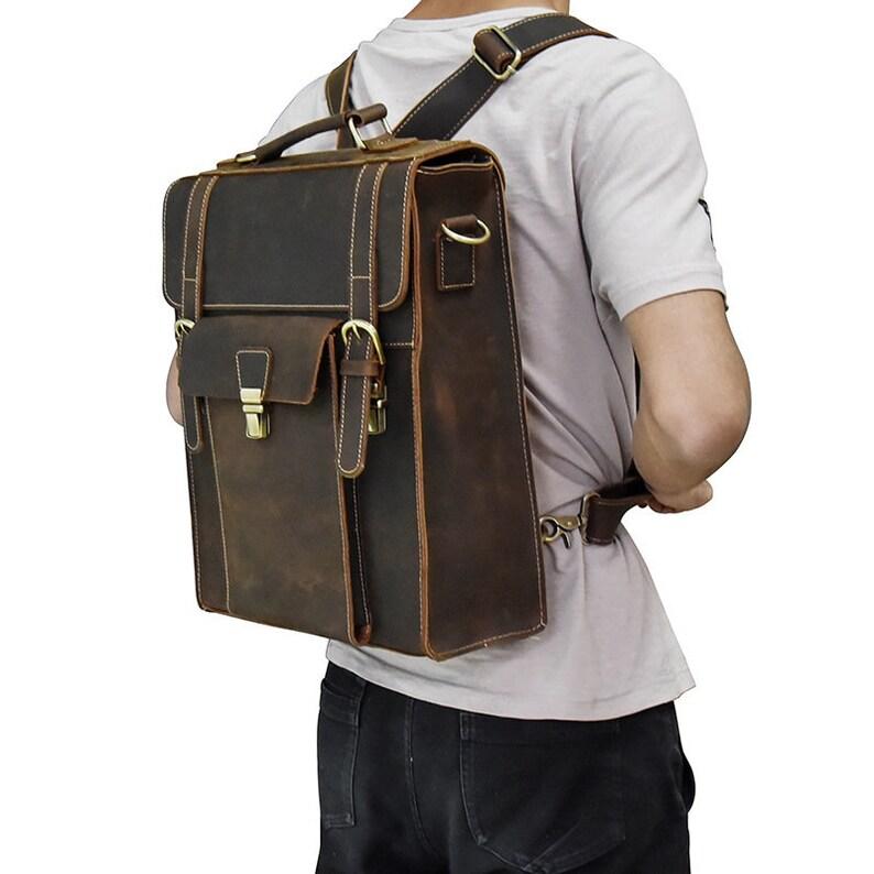 3ce98fc728 Man leather Backpack Laptop Backpack Bag Messenger Backpack
