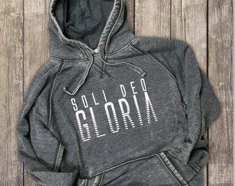 Soli Deo Gloria / Glory to God Alone Adult Unisex Acid Wash Soft Hoodies