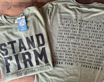 Stand Firm Ephesians 6 Sustainable Eco-Friendly Fair Trade Triblend Unisex T-shirt | Christian Men Tee