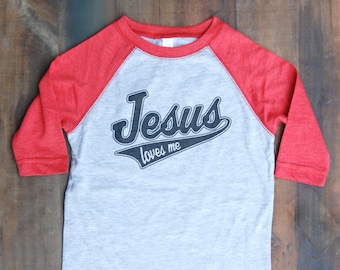 Jesus Loves Me Youth Vintage Baseball Tees
