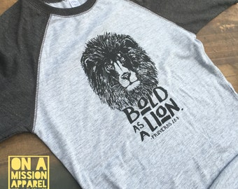 Bold As A Lion Proverbs 28:1 Toddler Vintage Baseball Tees