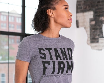 Stand Firm Ephesians 6 Sustainable Eco-Friendly Fair Trade Triblend Ladies T-shirt | Christian Women's Tee