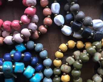 Ombre Trio Colored Makensia Ceramic Bracelet Fair Trade from Haiti