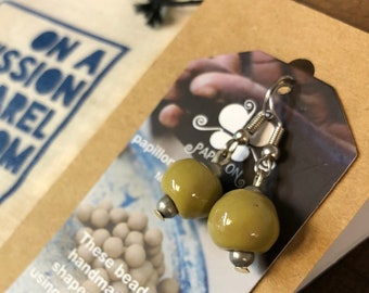 Fair Trade Olive Green Ceramic Bead Earrings from Haiti