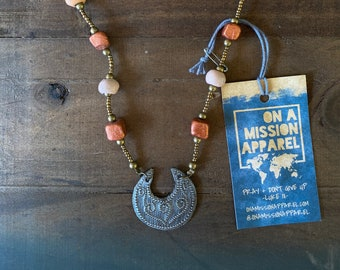 Fanm Djanm Strong Woman Warrior Collection Fair Trade Hammered Steel Medallion and Ceramic Necklace