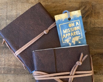 Fair Trade Artisan Faux Leather Small Hand Sewn Journals with Handmade Paper