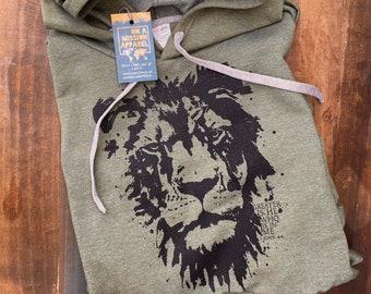 Greater is He Lion of Judah Fair Trade Sustainable Heathered Adult Unisex Fleece Hoodie