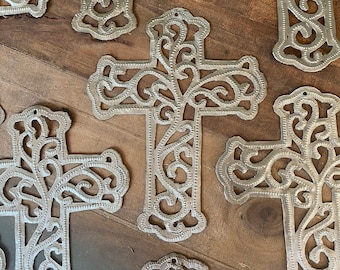 Lace Scroll Hammered Steel Fair Trade Cross from Haiti