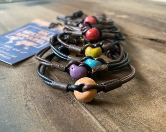 Fair Trade Leather and Bead Bracelet