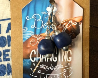 Fair Trade Navy Blue Ceramic Bead Earrings from Haiti