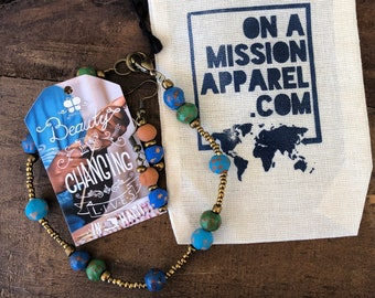 Ocean Blue Fair Trade Diffuser Ceramic Bead Earring and Ceramic Bead Anklet Set from Haiti