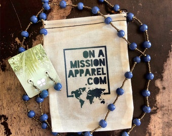 Indigo Blue Ceramic Bead Fair Trade Necklace and Earrings Set