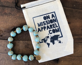Light Blue Ceramic Bead Bracelet Fair Trade from Haiti