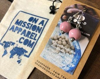 Fair Trade Rose Pink Ceramic Bead Earrings from Haiti