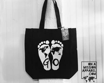 GO Feet Matthew 28:19 Black Market Canvas Totes with Gusset