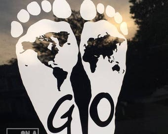 Go Into the World Footprint Vinyl Window Decal