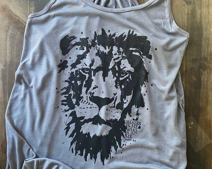 Featured listing image: Greater is He Who is in Me | Lion of Judah Hand Drawn Women's Flowy Racerback Tank Top | Women's Christian Graphic Tank Top | gift for her