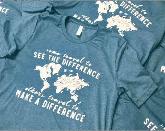 Make a Difference World Map Adult Unisex Tees